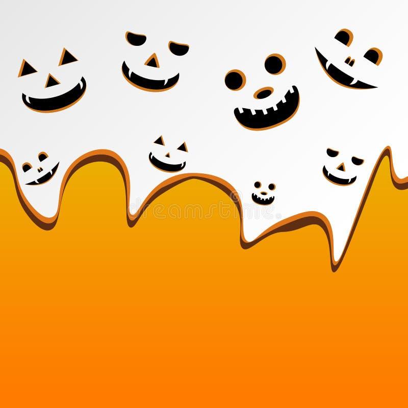 万圣夜背景南瓜面具,杰克O灯笼微笑 向量例证