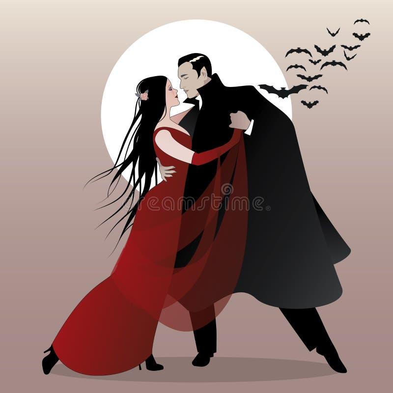 万圣夜舞会 浪漫吸血鬼夫妇跳舞 向量例证