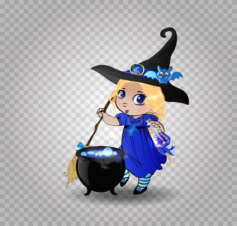 万圣夜芳香树脂白肤金发的小巫婆女孩剪贴美术字符蓝色礼服的有大锅的 库存例证