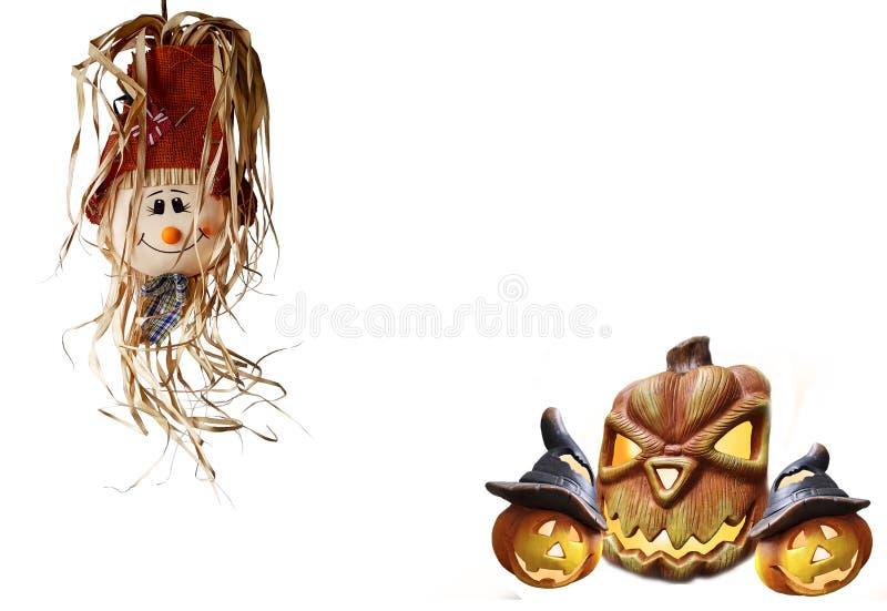 万圣夜草莓玩偶用南瓜抽背景恐怖文本 免版税库存照片