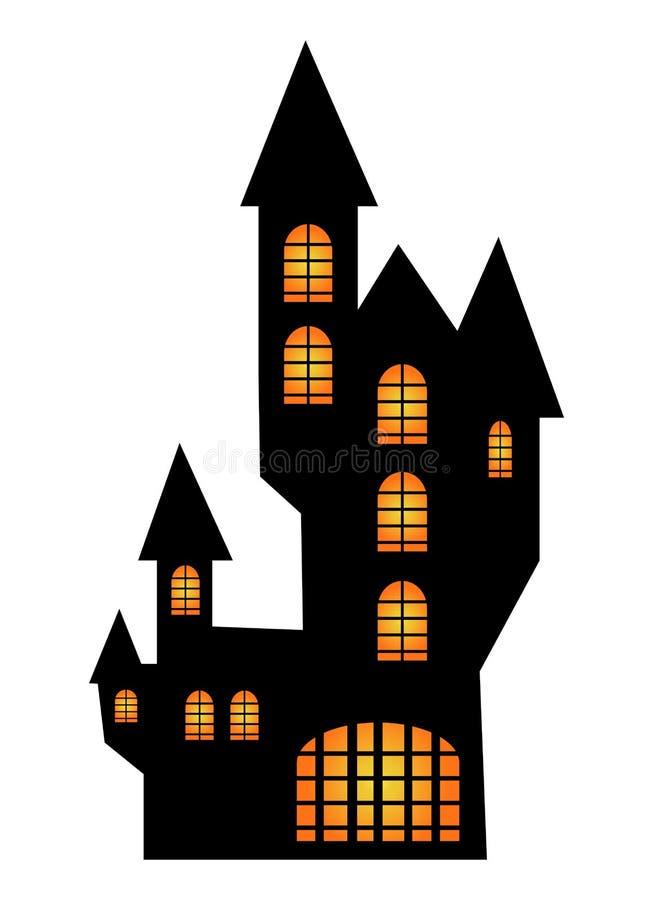 万圣夜蠕动的可怕hounted房子,传染媒介标志象设计 向量例证