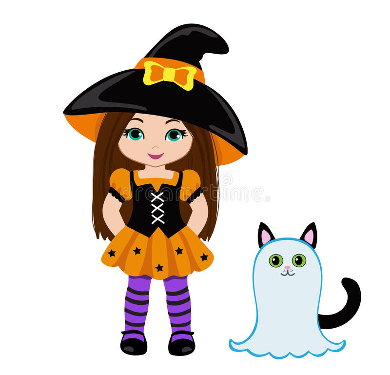 万圣夜逗人喜爱的作为鬼魂穿戴的巫婆和一只逗人喜爱的猫 向量例证