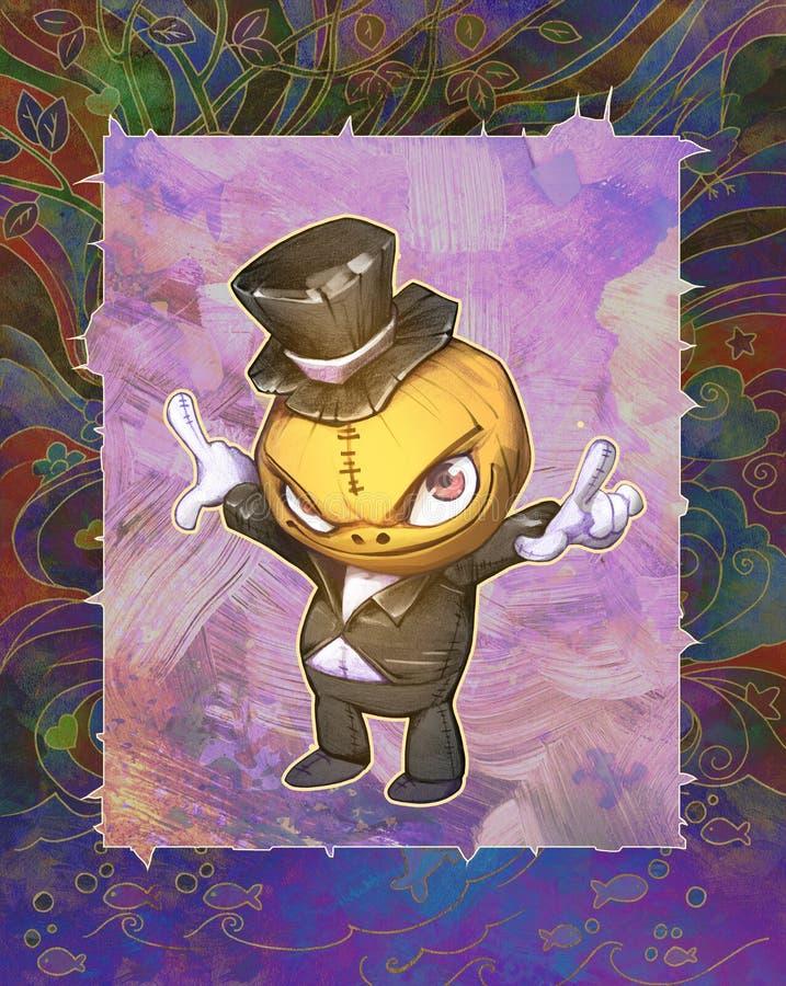 万圣夜逗人喜爱的南瓜字符的幻想手拉的混合画法例证 库存例证