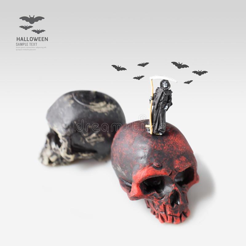 万圣夜邪恶的微型形象死亡想法概念 库存图片