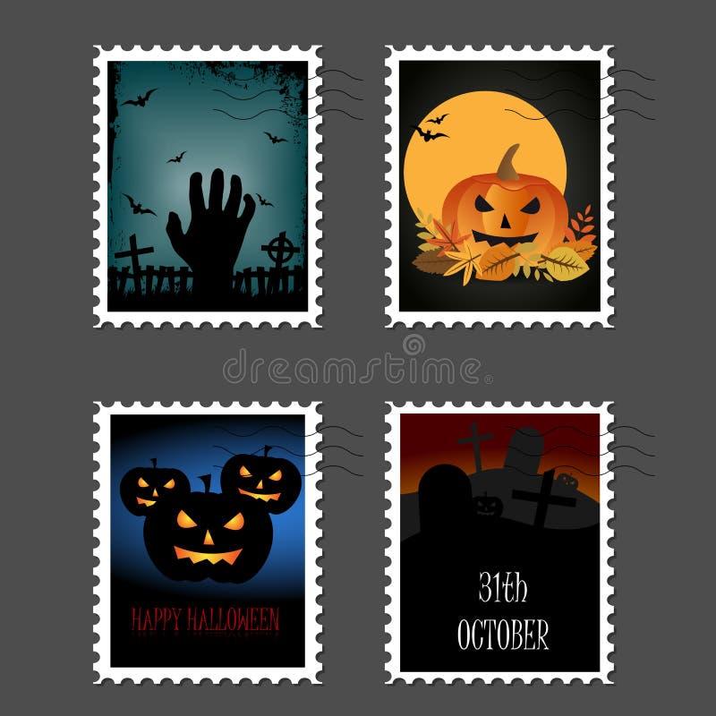 万圣夜邮票 向量例证