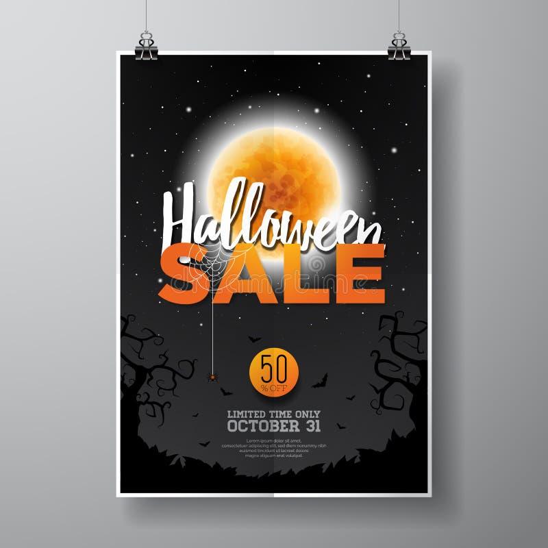 万圣夜销售传染媒介海报与月亮的模板在黑天空背景的例证和棒 为提议,优惠券,横幅, v设计 向量例证