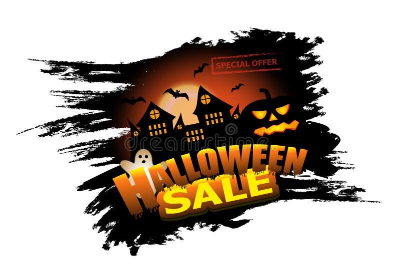 万圣夜销售元素为海报或横幅设计与城堡和南瓜 与鬼魂和棒的假日背景 向量 库存例证