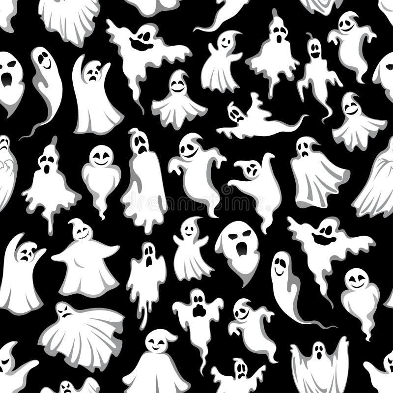 万圣夜鬼的鬼魂传染媒介无缝的样式 向量例证