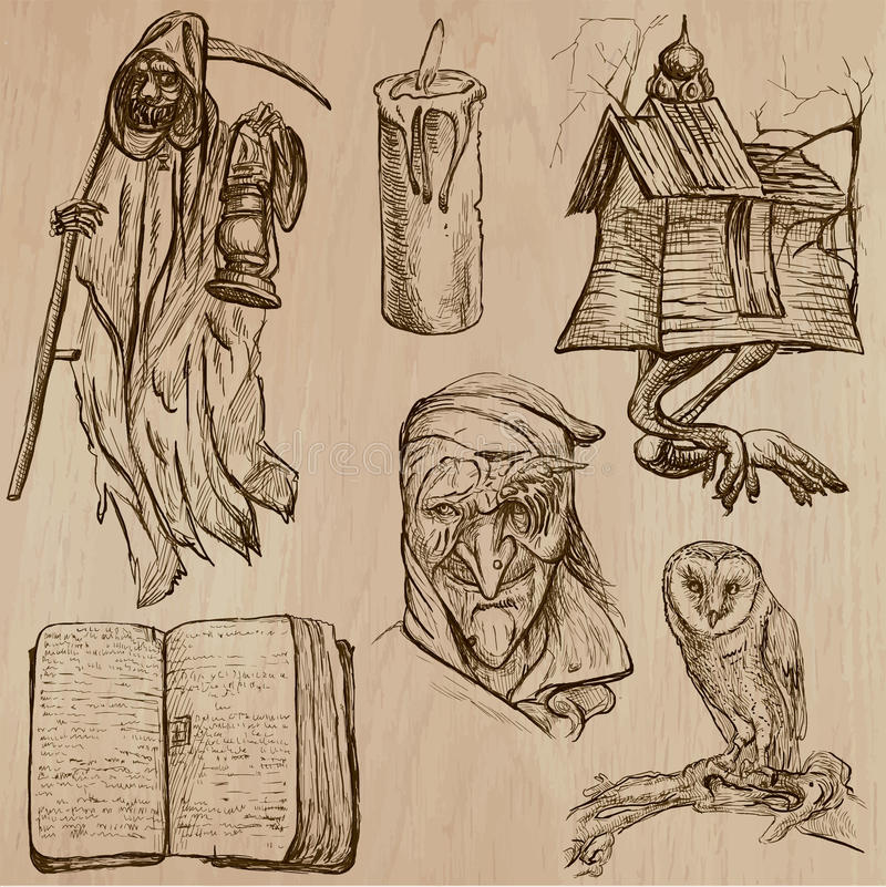 万圣夜,妖怪,魔术-导航汇集 向量例证