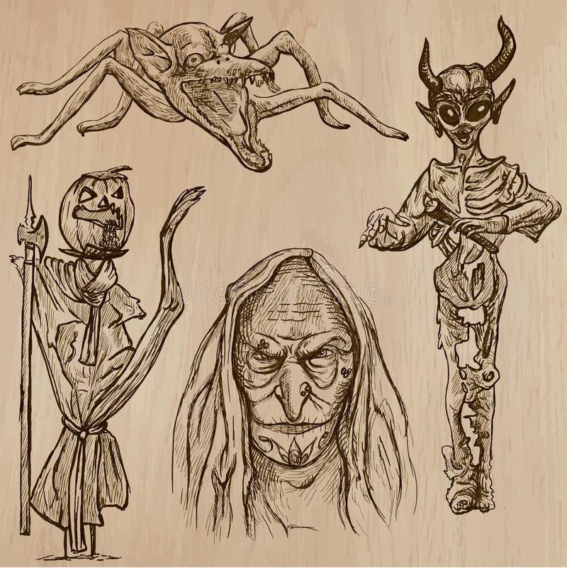 万圣夜,妖怪,魔术-导航汇集 皇族释放例证