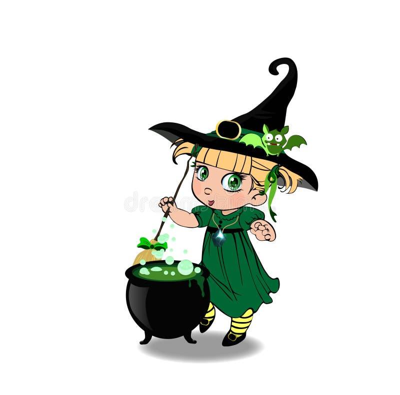 万圣夜kawaii白肤金发的小巫婆女孩剪贴美术字符绿色礼服的有大锅的 库存例证