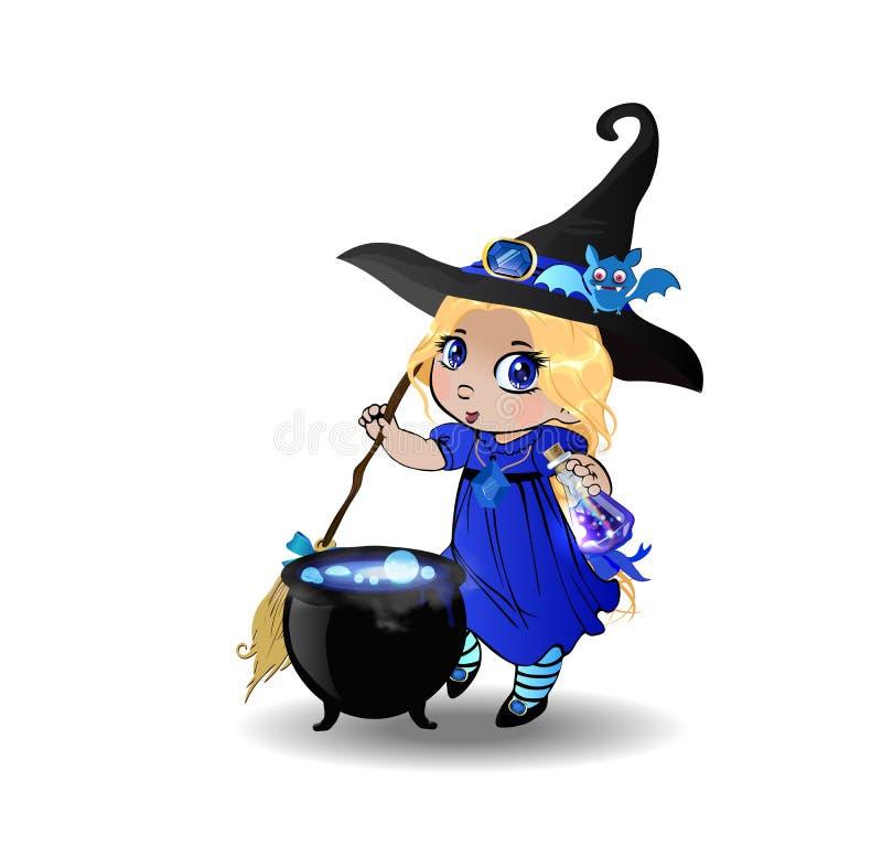 万圣夜kawaii白肤金发的小巫婆女孩剪贴美术字符蓝色礼服的有大锅的 皇族释放例证