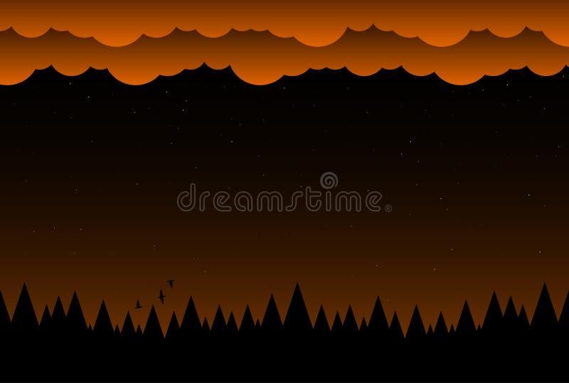 万圣节与云彩和黑暗的森林的夜背景 向量例证