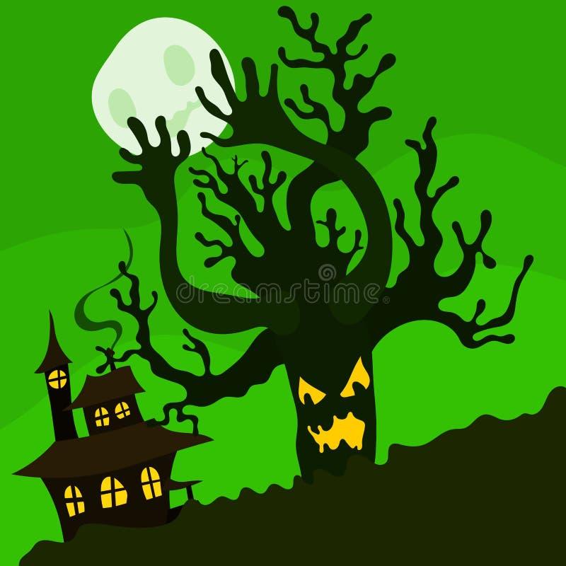 万圣节例证邪恶的树和房子绿色 向量例证