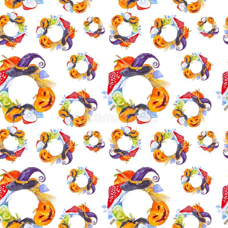 万圣节南瓜、蛤蟆菌、笤帚、棒、不可思议的帽子和魔药瓶的欢乐花圈 在白色隔绝的水彩例证 皇族释放例证