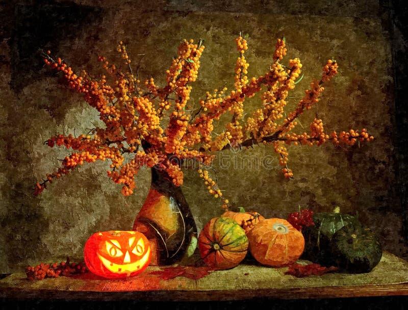 万圣节南瓜 土气的生活仍然 在纸的绘的湿水彩 天真艺术 在纸的图画水彩 向量例证