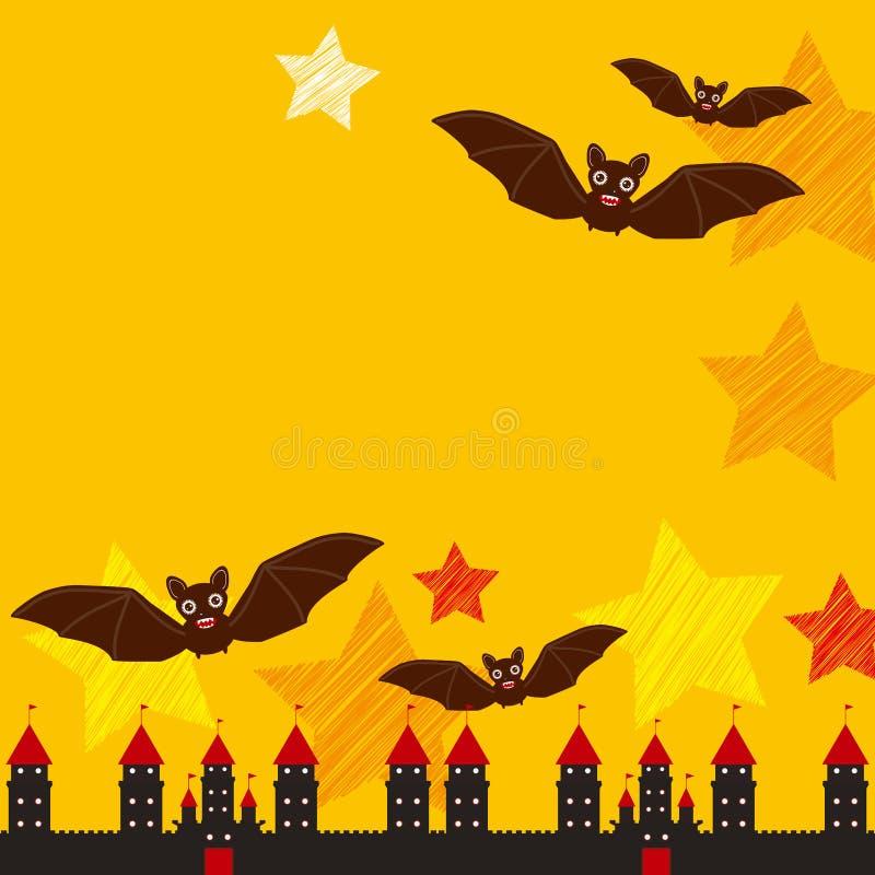 万圣节卡片文本的横幅设计用城堡南瓜,星,棒,夜空,黑橙黄红色背景 向量 向量例证