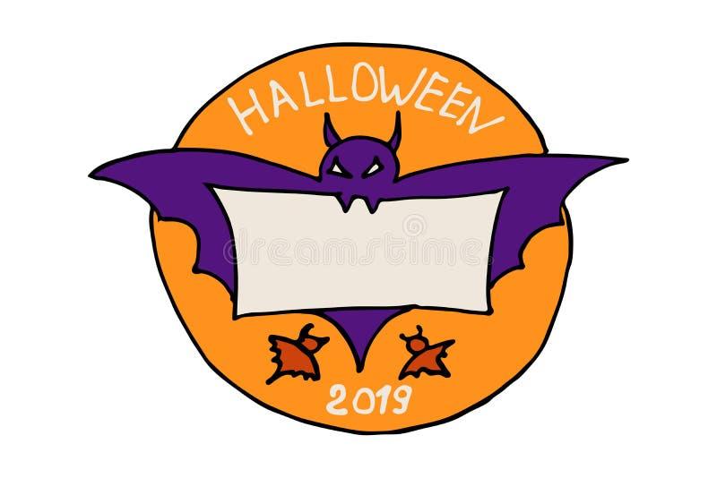 万圣节圆形橙色贴纸标签上贴着幽灵似的蝙蝠紫色轮廓 啮齿类动物在牙齿里藏着一张羊皮纸 向量例证