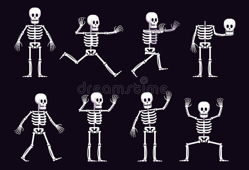 万圣节在另外位置的动画片骨骼 库存例证