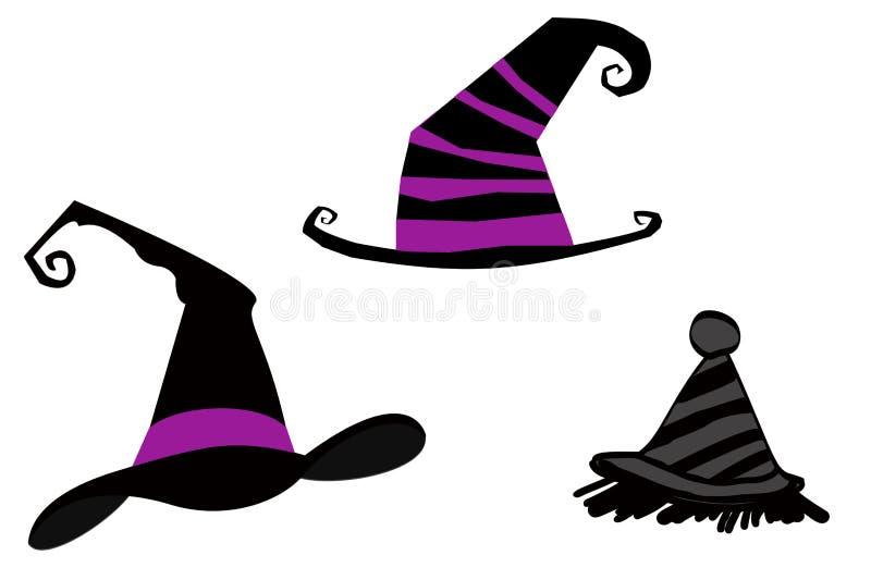 万圣节在白色背景的巫婆帽子 皇族释放例证