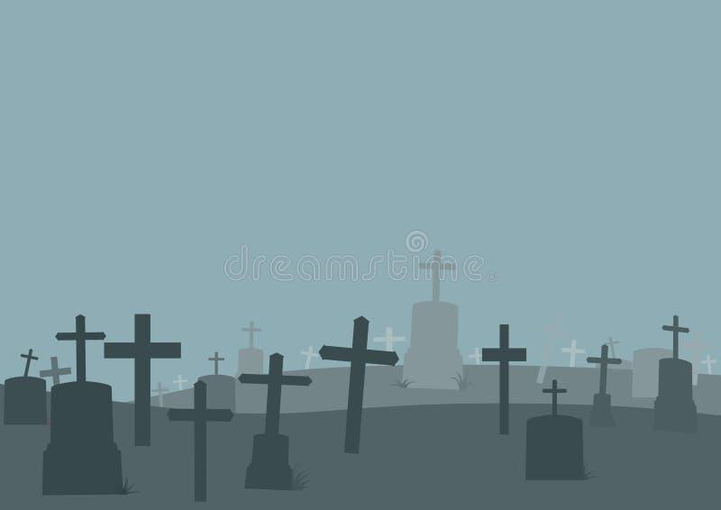 万圣节坟园背景 公墓海报背景 r 库存例证