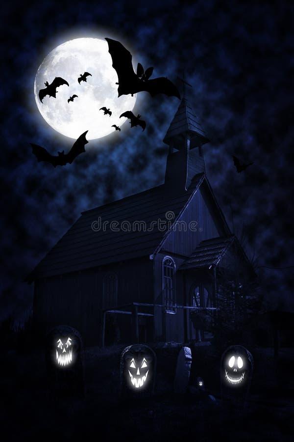 万圣节墓地在与可怕鬼魂的晚上 皇族释放例证