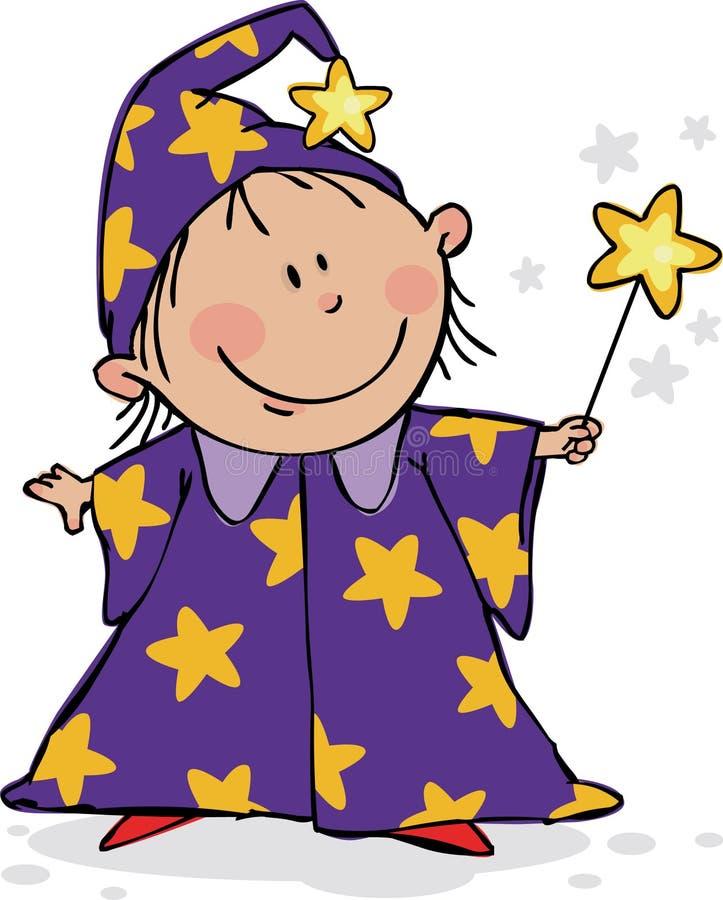 万圣节孩子魔术 向量例证