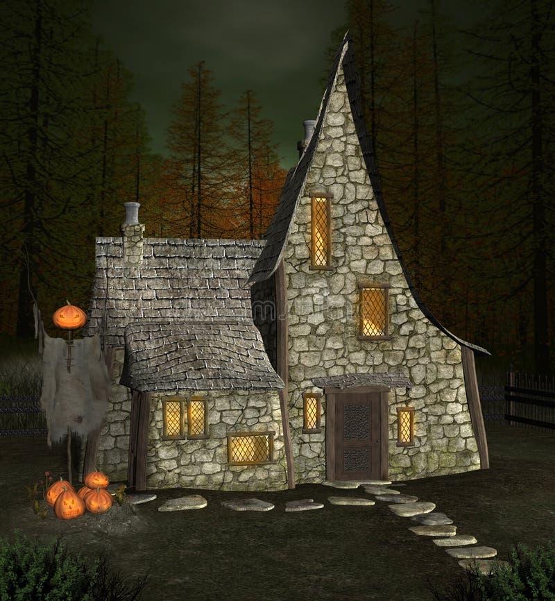 万圣节巫婆房子在一个黑暗的森林里 库存例证
