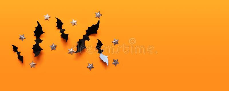 万圣节平展放置黑纸棒飞行和金星的构成 库存照片