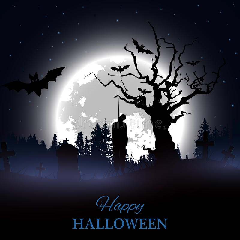 万圣节愉快的海报 与鬼的坟园、赤裸树、坟墓、棒和垂悬的人剪影的背景 向量例证