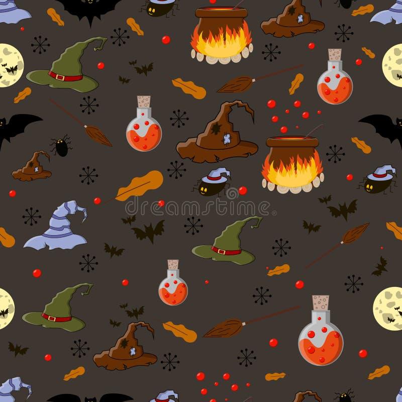 万圣节无缝图案矢量图,插有药剂、大锅、女巫帽、蜘蛛、扫帚、蝙蝠、月亮 包装 库存例证
