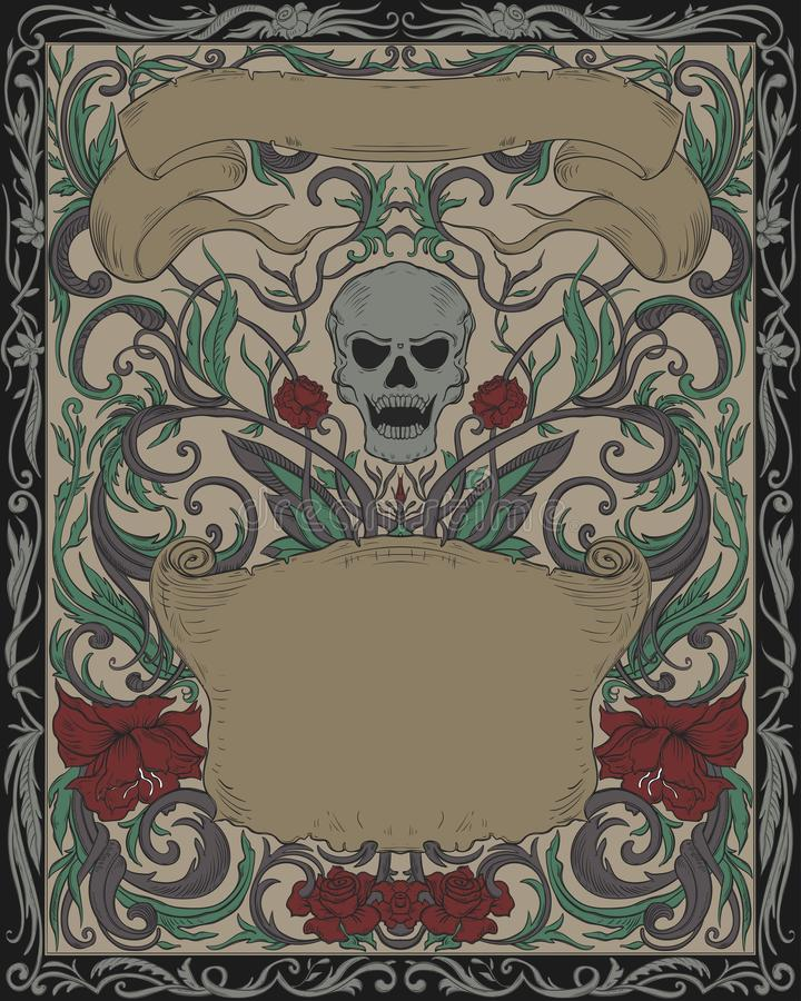万圣节晚会邀请 带有恐怖头骨、丝带和哥特式装饰的复古卡 优雅的封面背景图案 库存例证