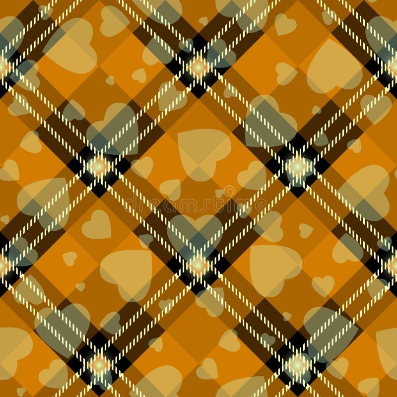 万圣节有心脏的格子花 在橙色,黑和灰色笼子的苏格兰样式 苏格兰笼子 传统苏格兰方格 库存例证