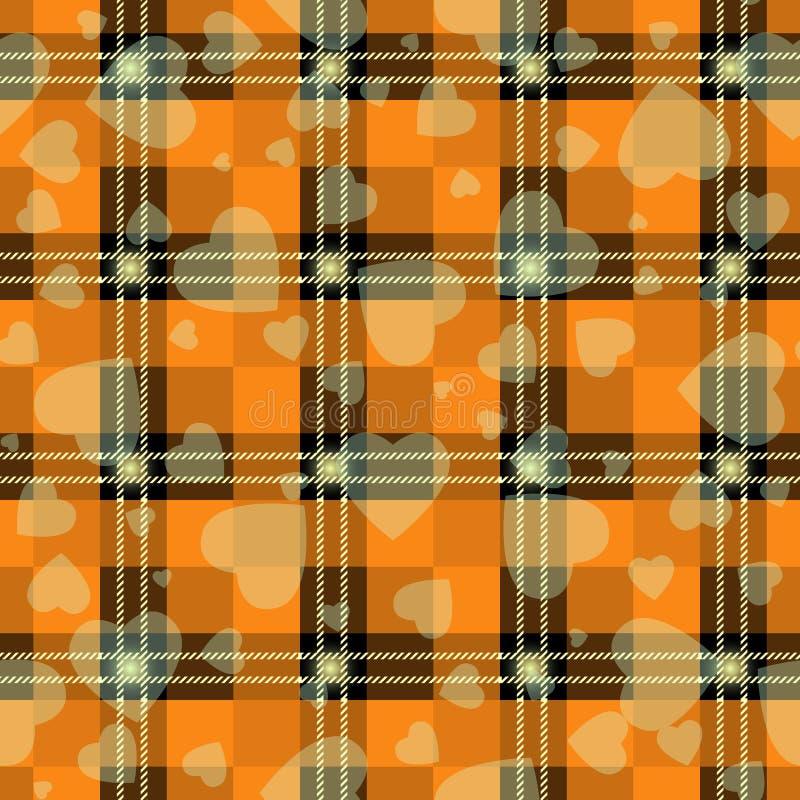 万圣节有心脏的格子花 在橙色,黑和灰色笼子的苏格兰样式 苏格兰笼子 传统苏格兰方格 皇族释放例证