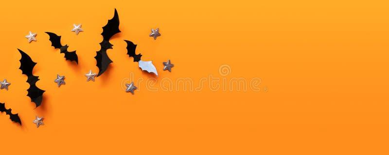 万圣节横幅与黑色,但是在橙色背景,顶视图 免版税图库摄影