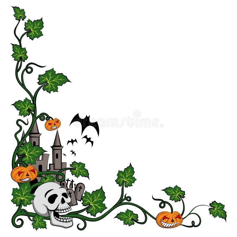 万圣节角落滑稽的头骨和南瓜在动画片样式在白色背景 库存例证