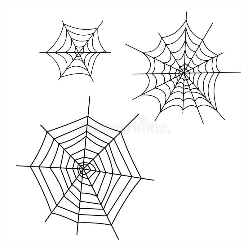 万圣节象:稀薄的单色象设置了,黑白成套工具 蠕动和滑稽的起重器面孔,棒,字法,蜘蛛网 向量例证