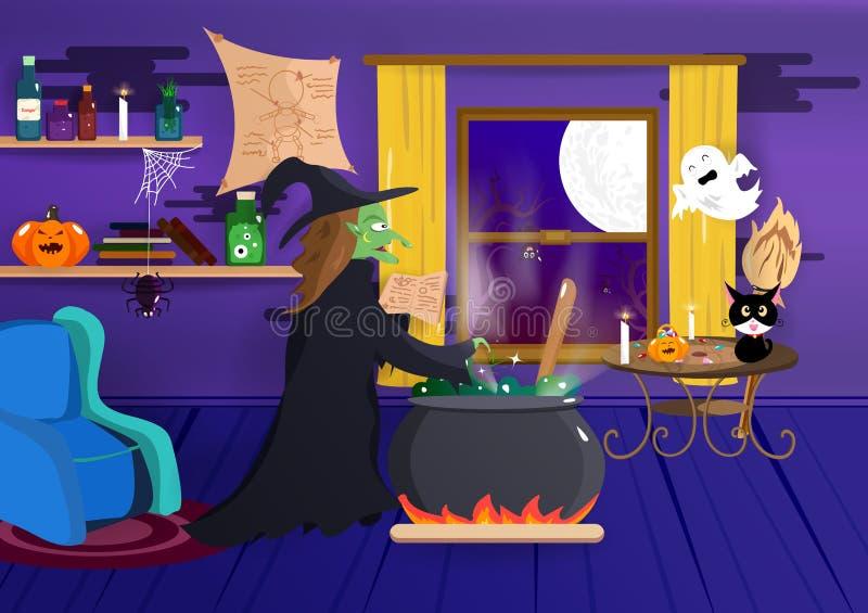 万圣节,巫婆在她房子、服装动画片、南瓜蜘蛛,棒和鬼,内部创造性,夜党,海报里烹调 皇族释放例证