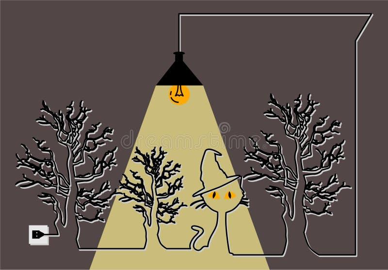 万圣节 与一只猫的海报在树和灯下 向量例证