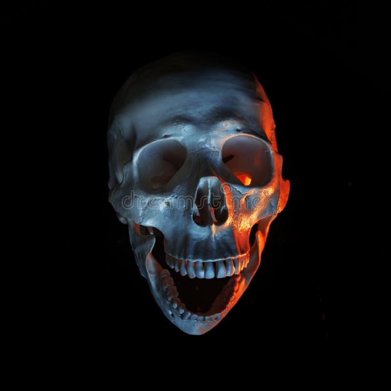 万圣节 在恶魔般的光的笑的人的头骨 万圣节邀请当事人 黑色背景 免版税库存图片
