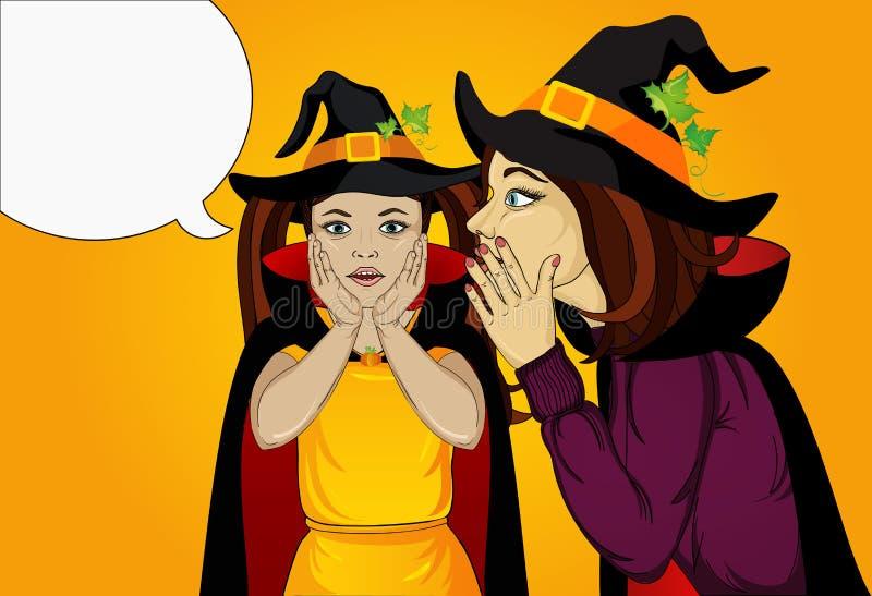 万圣节 小女孩` s母亲耳语在她的耳朵的一个秘密 库存例证