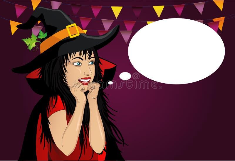 万圣节 帽子和巫婆服装的美丽的妇女惊奇 库存例证