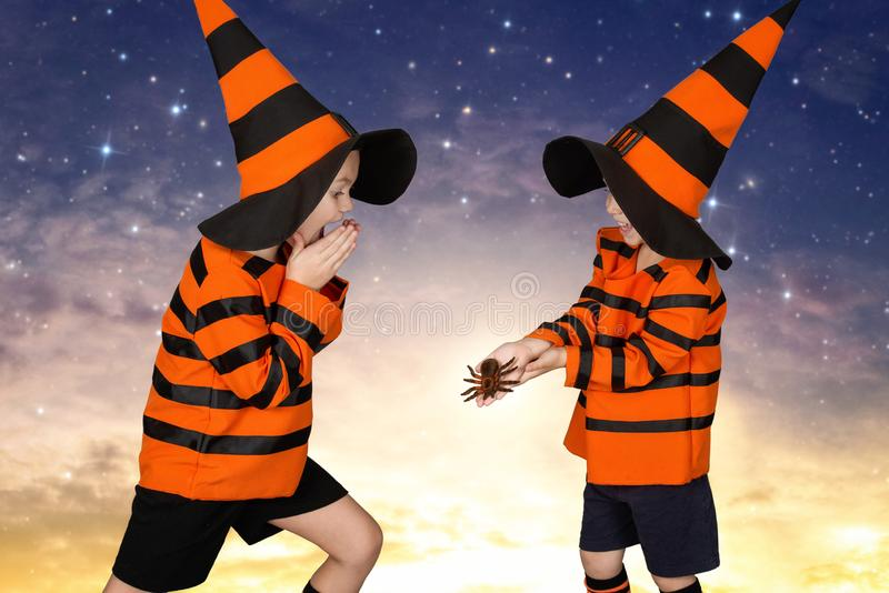 万圣节 服装的两个兄弟走在晚上的 恐慌与可怕蜘蛛 免版税图库摄影