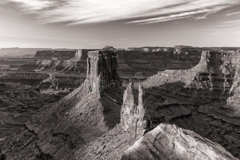 万宝路点黑白Canyonlands的日出 库存照片