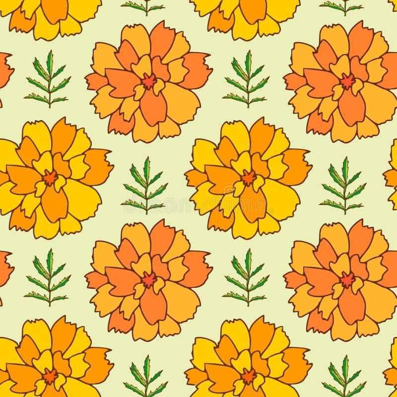 万寿菊无缝的样式 纺织品和墙纸的花卉背景 清凉茶包装纸 样式万寿菊花打印 皇族释放例证