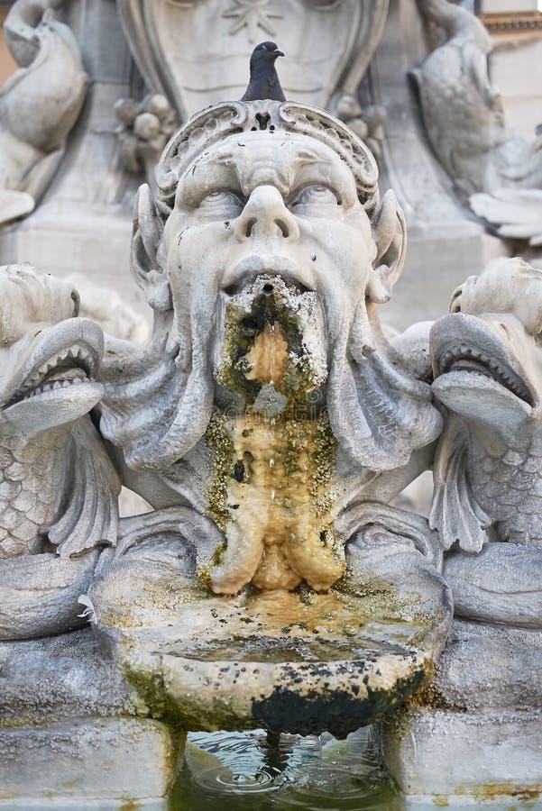万神殿喷泉的看法 免版税库存图片