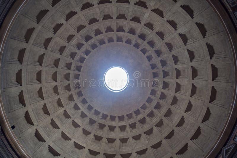 万神殿的圆顶的内部视图在罗马,意大利 向量例证
