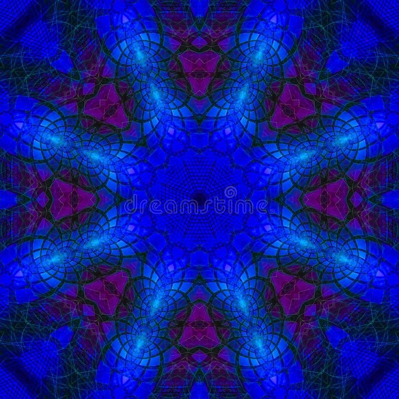 万花筒数字抽象神秘的背景能量坛场,东方现代魔术 向量例证