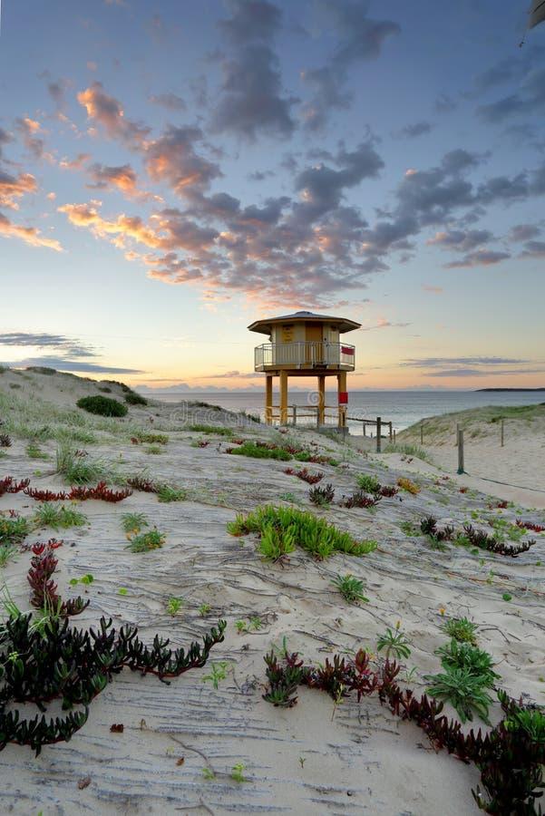 万达队海滩海浪救生员在日出的监视塔 免版税库存图片