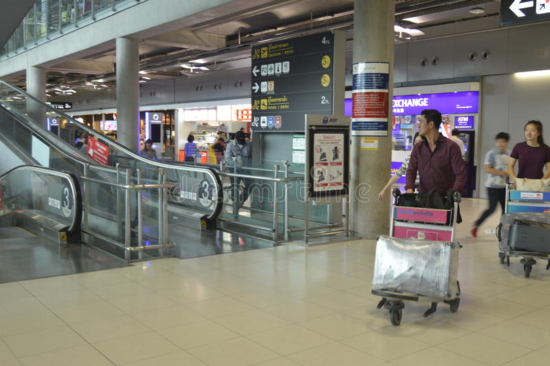 素万那普机场内部看法  图库摄影